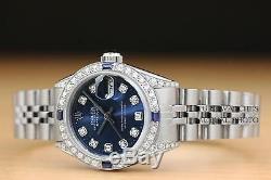 Mesdames Rolex Datejust Diamant Blanc Or & Steel Blue Diamond Cadran