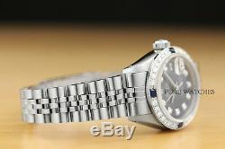 Mesdames Rolex Datejust Diamant Saphir Or Blanc 18 Carats Et Acier Cadran Bleu