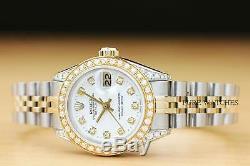 Mesdames Rolex Datejust Diamond 2 Tone Or Jaune 18 Carats Montre En Acier + Rolex Band