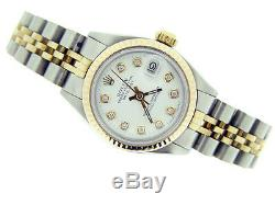Mesdames Rolex Datejust En Or 14k Et Montre En Acier Inoxydable Blanc Diamond Dial 6917