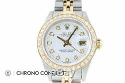 Mesdames Rolex Datejust En Or Jaune 18 Carats Et Acier Inoxydable Blanc Diamant Cadran