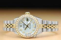 Mesdames Rolex Datejust En Or Jaune 18 Carats Lunette Sertie De Diamants, Cadran Argenté, Et Cosses Montre