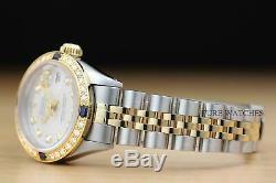 Mesdames Rolex Datejust En Or Jaune 18 Carats Saphir Diamant Et Acier Argent Cadran
