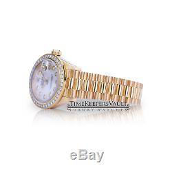 Mesdames Rolex Datejust En Or Jaune De Diamant 69178 Cadran En Nacre Bezel