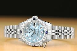 Mesdames Rolex Datejust Ice Blue Diamond Saphir Or Blanc 18 Carats Et Montre En Acier