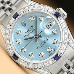 Mesdames Rolex Datejust Ice Blue Sapphire Diamant Or Blanc 18 Carats Montre En Acier