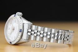 Mesdames Rolex Datejust Or Blanc 18 Carats De Diamants Et Saphir Montre En Acier Cadran Blanc