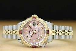 Mesdames Rolex Datejust Or Jaune 18 Carats / Ss Rose Rubis Diamant Montre En Acier Inoxydable