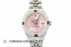 Mesdames Rolex Datejust Pink Diamond Cadran En Or Blanc 18 Carats Et Montre En Acier Inoxydable