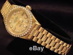 Mesdames Rolex Datejust Président 18k Montre En Or Jaune Diamond Cadran, Lunette & Band