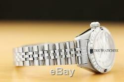 Mesdames Rolex Datejust Romain Silver Sapphire Diamond White Gold Montre En Acier