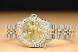 Mesdames Rolex Datejust Usine Champagne Diamond Dial 18k Gold 2 Tons Montre