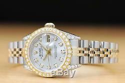 Mesdames Rolex Datejust Usine Dial Diamond Diamond Bezel & Cosses 18k Montre 2 Tons