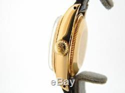 Mesdames Rolex Solide 18k Montre En Or Jaune Datejust Bracelet En Cuir Noir Cadran 6917