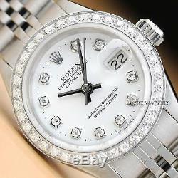 Mesdames Rolex White Diamond Dial Datejust En Or Blanc 18 Carats Et Montre En Acier Inoxydable
