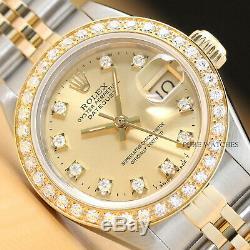 Mesdames Véritables Rolex Datejust Usine Diamond Cadran En Or 18 Carats Diamond Bezel Montre