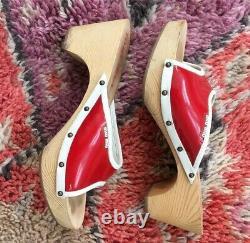 Miu Miu Vintage Clogs Sandals Eur 39 Blanc Rouge