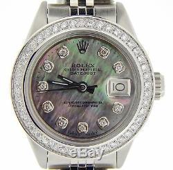 Montre Rolex Datejust Lady En Acier Inoxydable Noir Nacre De Tahiti Diamant
