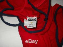 Moschino Mare Vintage 90s Italien Maillot Rare Red Star 42 Une Pièce Bodysuit