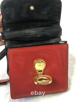 Moschino Redwall Rouge Noir Cuir Or Ton Coeur Sac Épaule Vintage