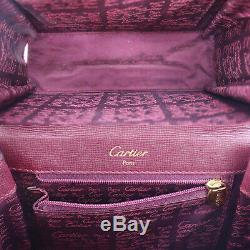 Must De Cartier Logos Petit Sac À Main En Cuir Bordeaux Vintage Auth # Ll423 O Junk