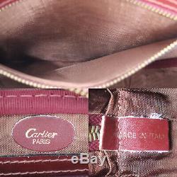 Must De Cartier Logos Sac À Bandoulière En Cuir Bordeaux Vintage Authentique # Ab422 O