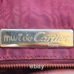 Must De Cartier Logos Sac À Bandoulière En Cuir Bordeaux Vintage Authentique # Ff384 O