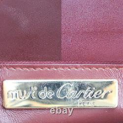 Must De Cartier Logos Sac À Bandoulière En Cuir Bordeaux Vintage Authentique # Nn314 O