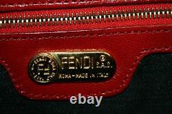 Nouveau! Authentique Vintage Fendi Red Suede À Rabat En Cuir Ff Boucle Bourse Sac À Main
