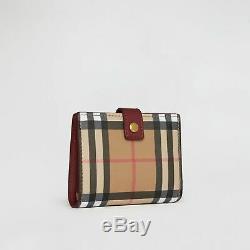 Nouveau Véritable Petit Burberry Vintage Check Et Pliant En Cuir Wallet Crimson