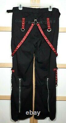 Nwt Vintage Nyc 34x32.5 Tripp 90s Jambe Large Pantalon Noir Porte Rouge Goth Jarretière