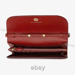 Nwtburberry Vintage Check Leather Chain Shoulder Bag Portefeuille Pochette Crimson Red