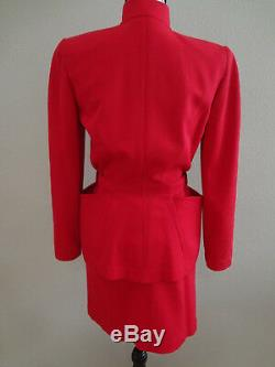 Paris Vintage Thierry Mugler Red Costume Blazer Jupe One Of A Kind