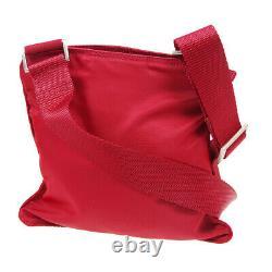 Prada Cross Body Shoulder Bag #26 Purse Red Nylon Italy Vintage Auth Jt09491