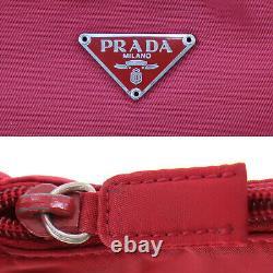 Prada Logos Sac À Main Nylon Rouge Fabriqué En Italie Vintage Authentique #ac350 O