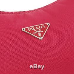 Prada Logos Sac À Main Pochette # 28 Porte-monnaie Rouge Nylon Vintage Italie Authentique Ak39743