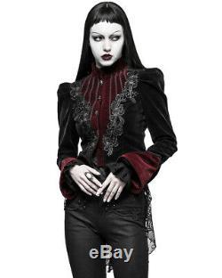 Punk Rave Femmes Veste Noire Gothique Velours Rouge Steampunk Vtg Victorienne Vampire