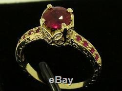 R182- Style Vintage 9ct Or Massif Naturel Et Ruby De Fiançailles En Diamants Taille De La Bague M
