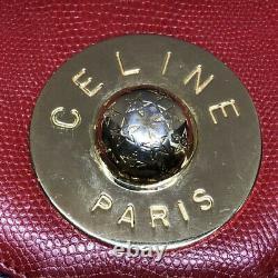 Rare Céline Paris Vintage Leather Crossbody Sac À Bandoulière Red Blue Gold Hardware