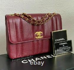 Rare Chanel Vintage Mademoiselle 24k Quincaillerie En Or Sac En Cuir De Caviar Rouge