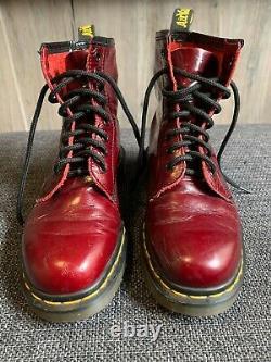 Rare Dr. Doc Martens Vintage Bottes En Cuir Cranberry Red Made In England Us7