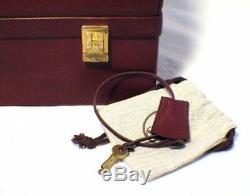 Rare Hermes Vintage Rouge Rouge Sac À Main Sac Docteur Mallette En Cuir