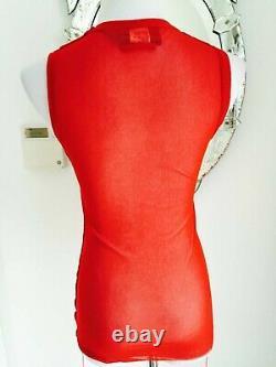 Rare Vintage Jean Paul Gaulthier Rouge Mesh Taille Supérieure S Nylon Brodé