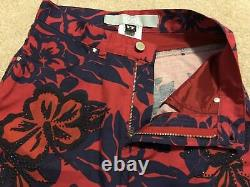 Rare Vintage Versace Jeans Couture Cotton Jeans Taille 27 Imprimé Floral Bleu Rouge