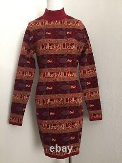 Rare Vtg Alaia Années 90 Khufi Calligraphie Script Red Dress M/l