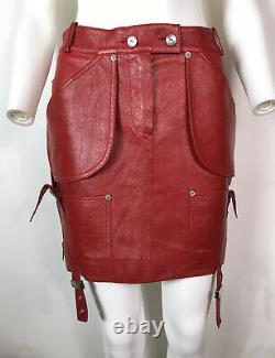 Rare Vtg Christian Dior De John Galliano Jupe En Cuir D'agneau Rouge Xs Aw2003