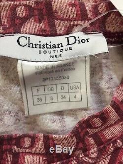 Rare Vtg Christian Dior Par John Galliano Red Trotter Monogram Top Xs
