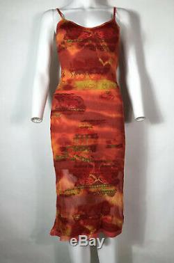 Rare Vtg Christian Dior Par John Galliano Rouge Orange Knit Ss2002 Robe Xs