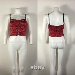 Rare Vtg Dolce & Gabbana Bustier En Satin De Soie Rouge Corset Xs