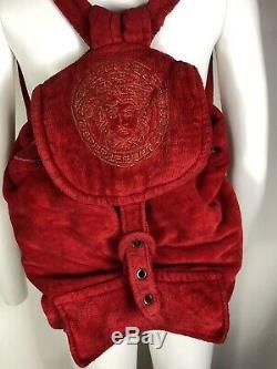 Rare Vtg Gianni Versace Coton Rouge Terry Medusa Brodé Sac À Dos